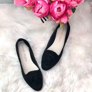 Anne Klein Darcy black suede tassel loafer flats